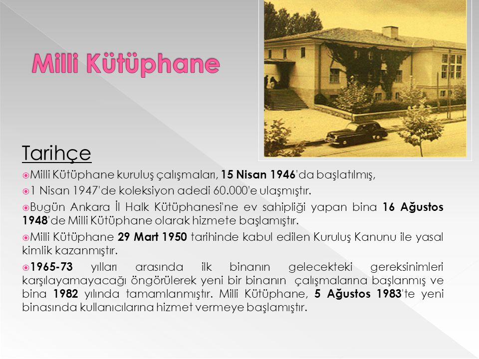 Tarihçe  Milli Kütüphane kuruluş çalışmaları, 15 Nisan 1946 da başlatılmış,  1 Nisan 1947 de koleksiyon adedi 60.000 e ulaşmıştır.