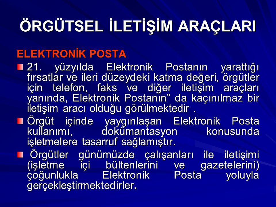 ÖRGÜTSEL İLETİŞİM ARAÇLARI ELEKTRONİK POSTA 21.