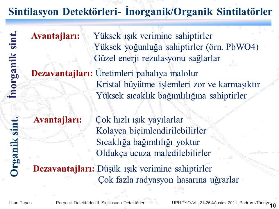 İlhan Tapan Parçacık Detektörleri II: Sintilasyon Detektörleri UPHDYO-VII, 21-26 Ağustos 2011, Bodrum-Türkiye 10 Sintilasyon Detektörleri- İnorganik/Organik Sintilatörler İnorganik sint.
