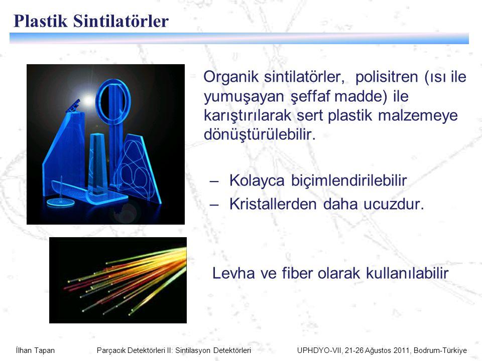 İlhan Tapan Parçacık Detektörleri II: Sintilasyon Detektörleri UPHDYO-VII, 21-26 Ağustos 2011, Bodrum-Türkiye Plastik Sintilatörler Organik sintilatörler, polisitren (ısı ile yumuşayan şeffaf madde) ile karıştırılarak sert plastik malzemeye dönüştürülebilir.