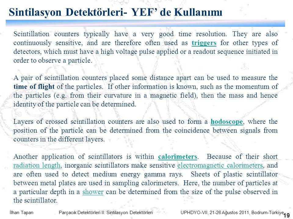 İlhan Tapan Parçacık Detektörleri II: Sintilasyon Detektörleri UPHDYO-VII, 21-26 Ağustos 2011, Bodrum-Türkiye 19 Scintillation counters typically have