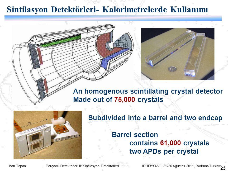 İlhan Tapan Parçacık Detektörleri II: Sintilasyon Detektörleri UPHDYO-VII, 21-26 Ağustos 2011, Bodrum-Türkiye 23 An homogenous scintillating crystal detector Made out of 75,000 crystals Subdivided into a barrel and two endcap Barrel section contains 61,000 crystals two APDs per crystal Sintilasyon Detektörleri- Kalorimetrelerde Kullanımı