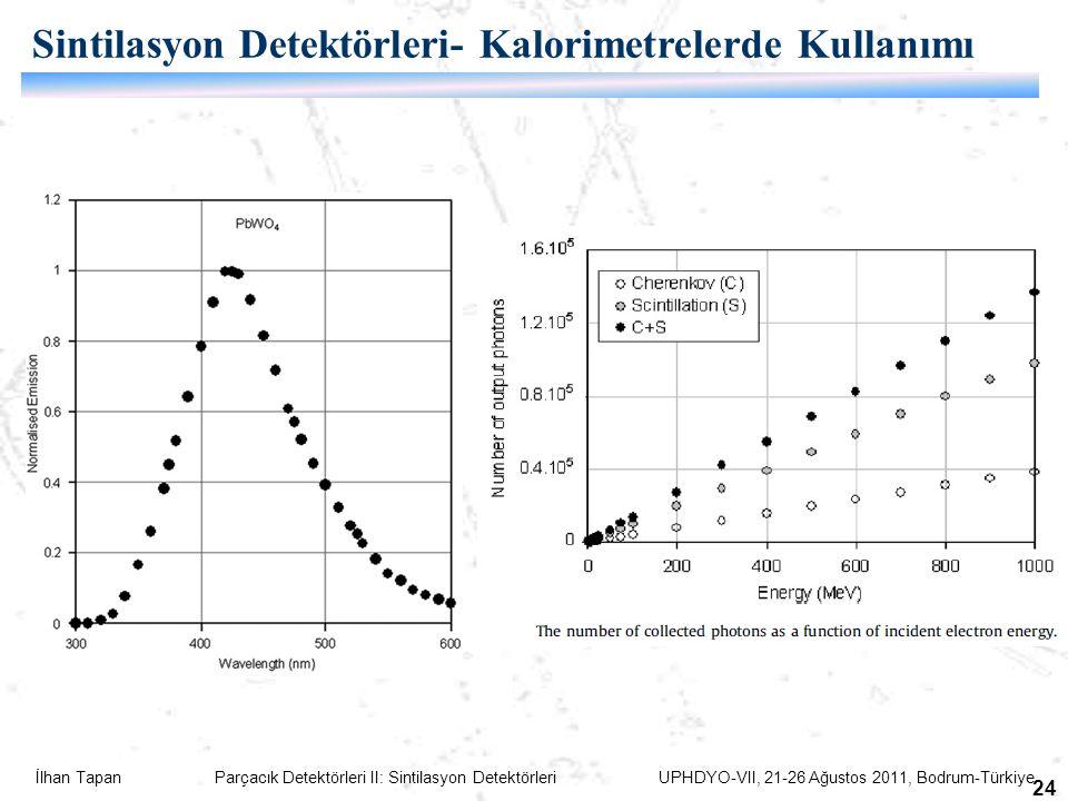 İlhan Tapan Parçacık Detektörleri II: Sintilasyon Detektörleri UPHDYO-VII, 21-26 Ağustos 2011, Bodrum-Türkiye 24 Sintilasyon Detektörleri- Kalorimetrelerde Kullanımı