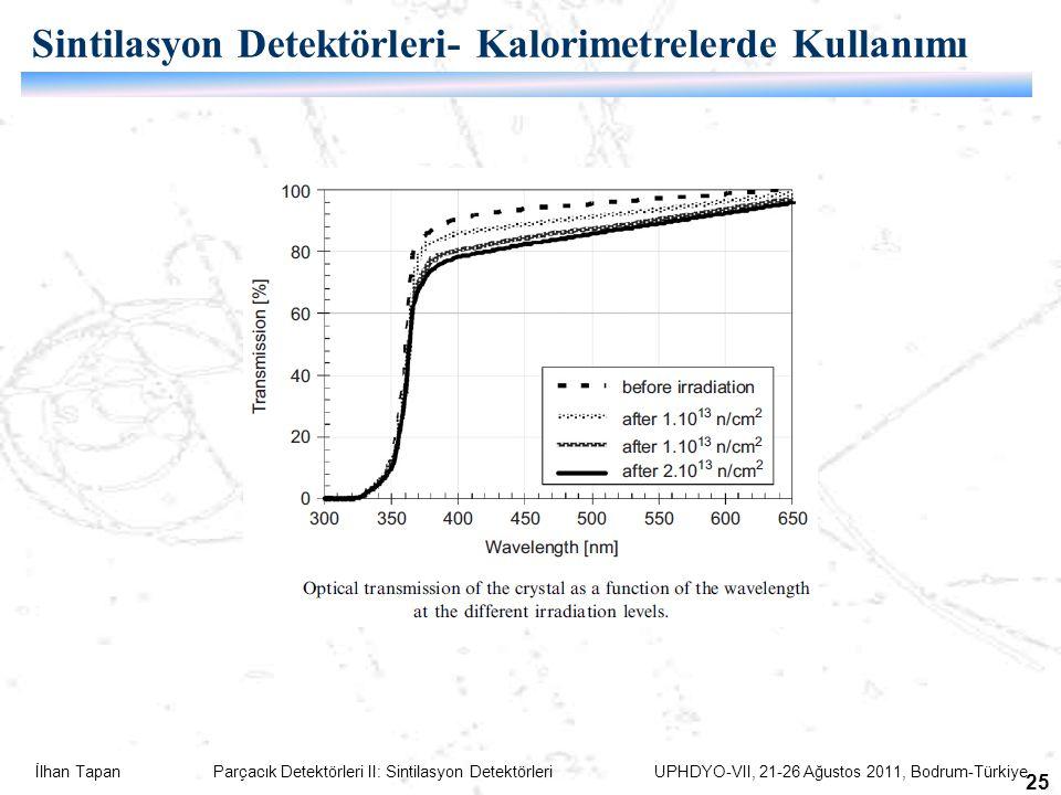 İlhan Tapan Parçacık Detektörleri II: Sintilasyon Detektörleri UPHDYO-VII, 21-26 Ağustos 2011, Bodrum-Türkiye 25 Sintilasyon Detektörleri- Kalorimetrelerde Kullanımı