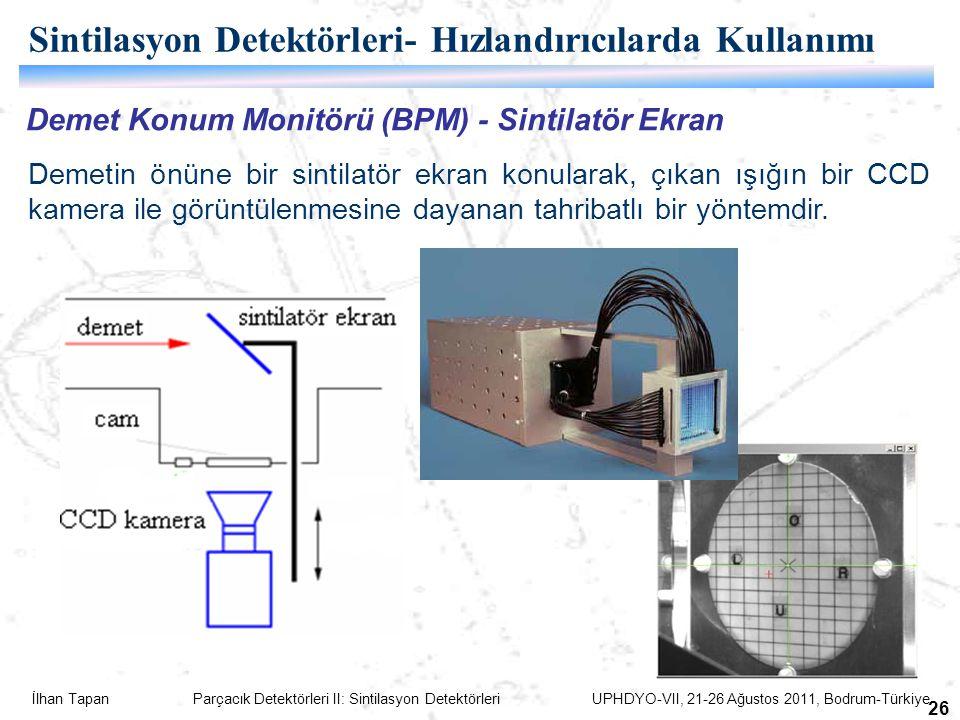 İlhan Tapan Parçacık Detektörleri II: Sintilasyon Detektörleri UPHDYO-VII, 21-26 Ağustos 2011, Bodrum-Türkiye 26 Demet Konum Monitörü (BPM) - Sintilatör Ekran Demetin önüne bir sintilatör ekran konularak, çıkan ışığın bir CCD kamera ile görüntülenmesine dayanan tahribatlı bir yöntemdir.