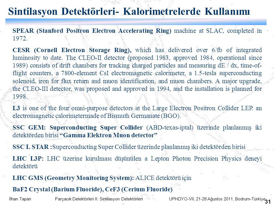 İlhan Tapan Parçacık Detektörleri II: Sintilasyon Detektörleri UPHDYO-VII, 21-26 Ağustos 2011, Bodrum-Türkiye 31 SPEAR (Stanford Positron Electron Acc