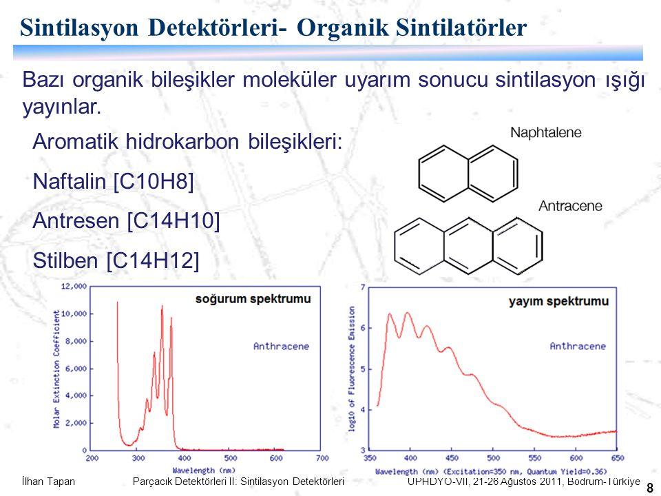 İlhan Tapan Parçacık Detektörleri II: Sintilasyon Detektörleri UPHDYO-VII, 21-26 Ağustos 2011, Bodrum-Türkiye 8 Aromatik hidrokarbon bileşikleri: Naftalin [C10H8] Antresen [C14H10] Stilben [C14H12] Sintilasyon Detektörleri- Organik Sintilatörler Bazı organik bileşikler moleküler uyarım sonucu sintilasyon ışığı yayınlar.