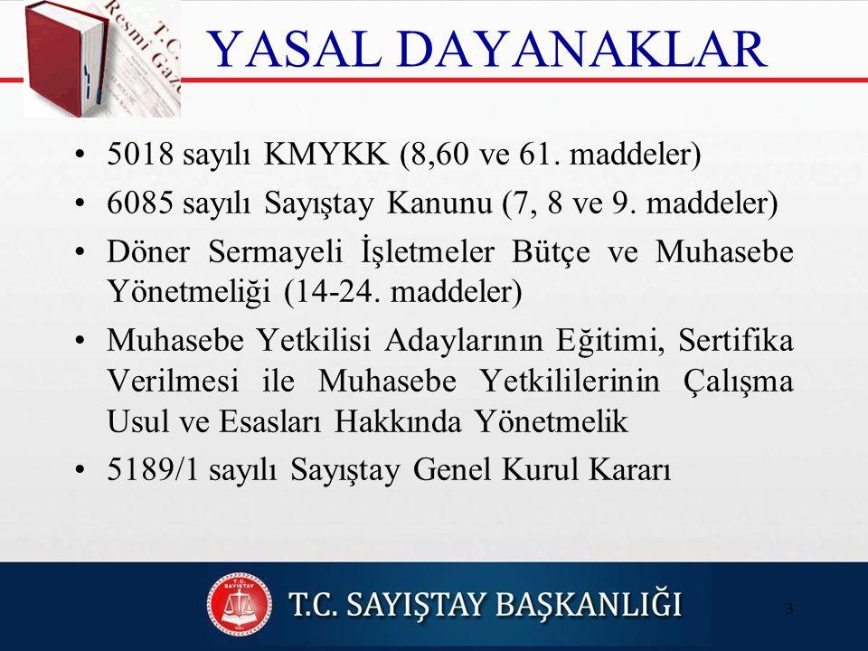 YASAL DAYANAKLAR 5018 sayılı KMYKK (8,60 ve 61.maddeler) 6085 sayılı Sayıştay Kanunu (7, 8 ve 9.