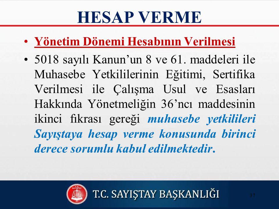 HESAP VERME Yönetim Dönemi Hesabının Verilmesi 5018 sayılı Kanun'un 8 ve 61.
