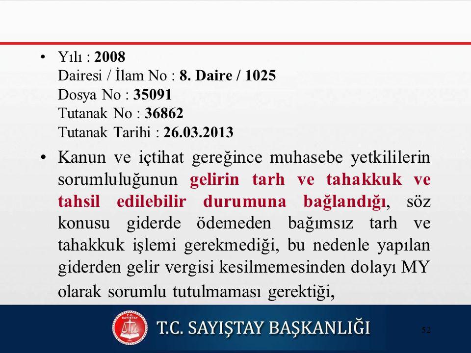 Yılı : 2008 Dairesi / İlam No : 8.