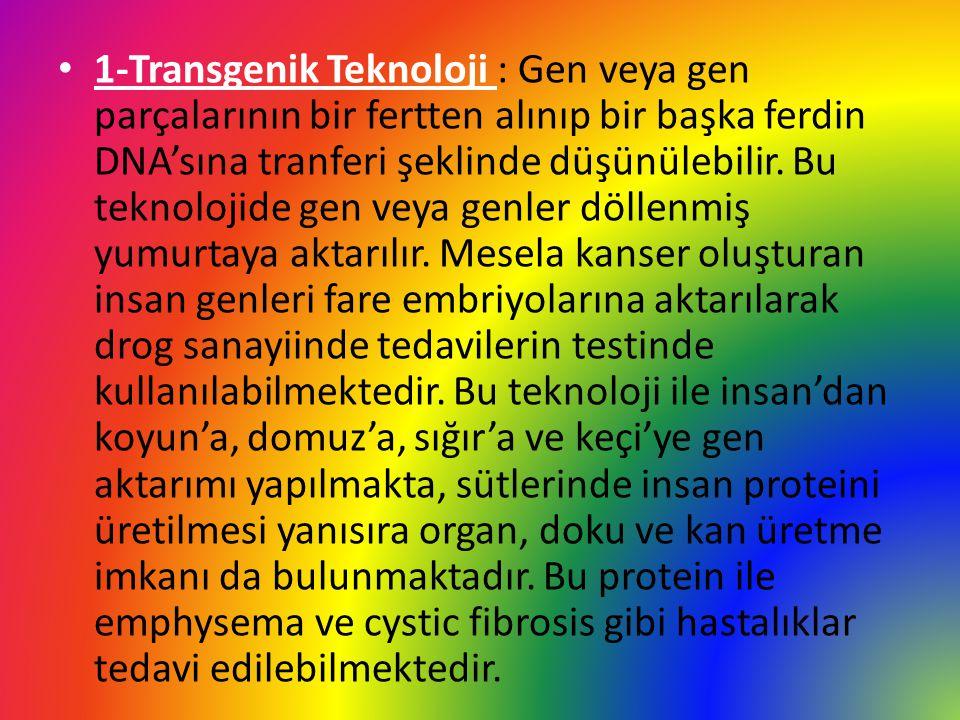 1-Transgenik Teknoloji : Gen veya gen parçalarının bir fertten alınıp bir başka ferdin DNA'sına tranferi şeklinde düşünülebilir.