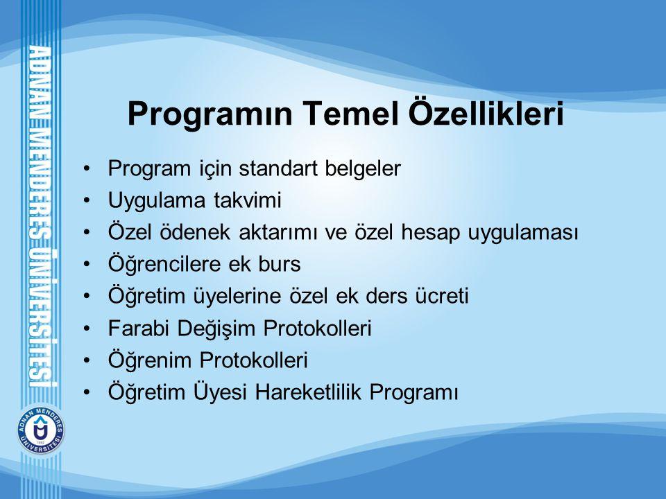 Programın Temel Özellikleri Program için standart belgeler Uygulama takvimi Özel ödenek aktarımı ve özel hesap uygulaması Öğrencilere ek burs Öğretim