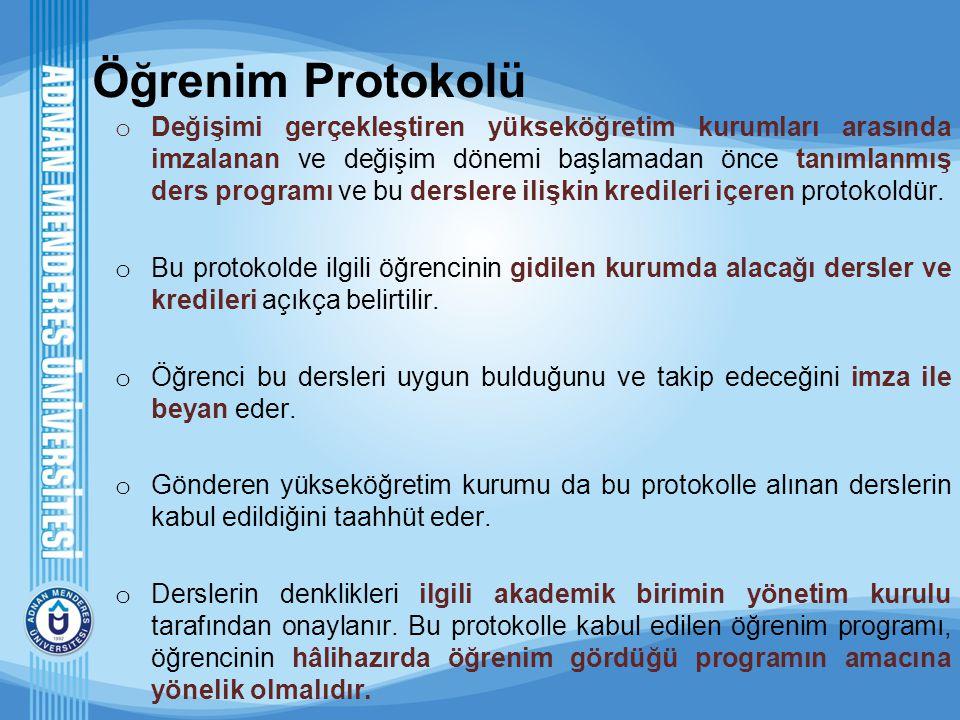 Öğrenim Protokolü o Değişimi gerçekleştiren yükseköğretim kurumları arasında imzalanan ve değişim dönemi başlamadan önce tanımlanmış ders programı ve
