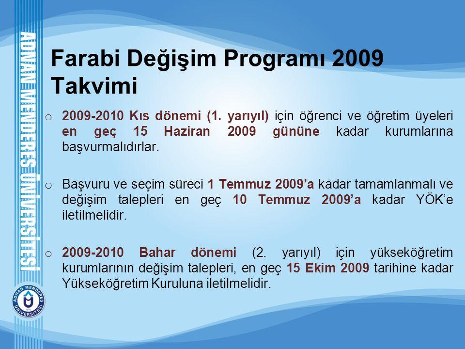 Farabi Değişim Programı 2009 Takvimi o 2009-2010 Kıs dönemi (1. yarıyıl) için öğrenci ve öğretim üyeleri en geç 15 Haziran 2009 gününe kadar kurumları