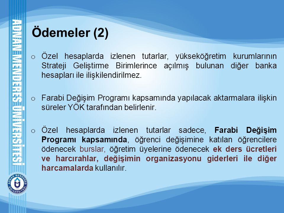 Ödemeler (2) o Özel hesaplarda izlenen tutarlar, yükseköğretim kurumlarının Strateji Geliştirme Birimlerince açılmış bulunan diğer banka hesapları ile
