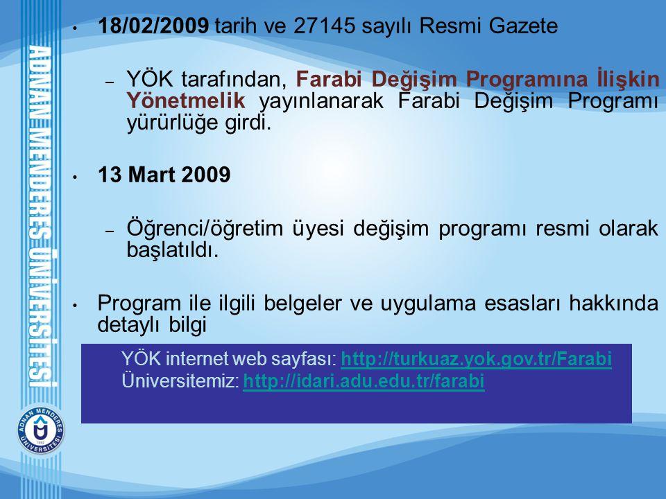 18/02/2009 tarih ve 27145 sayılı Resmi Gazete – YÖK tarafından, Farabi Değişim Programına İlişkin Yönetmelik yayınlanarak Farabi Değişim Programı yürü
