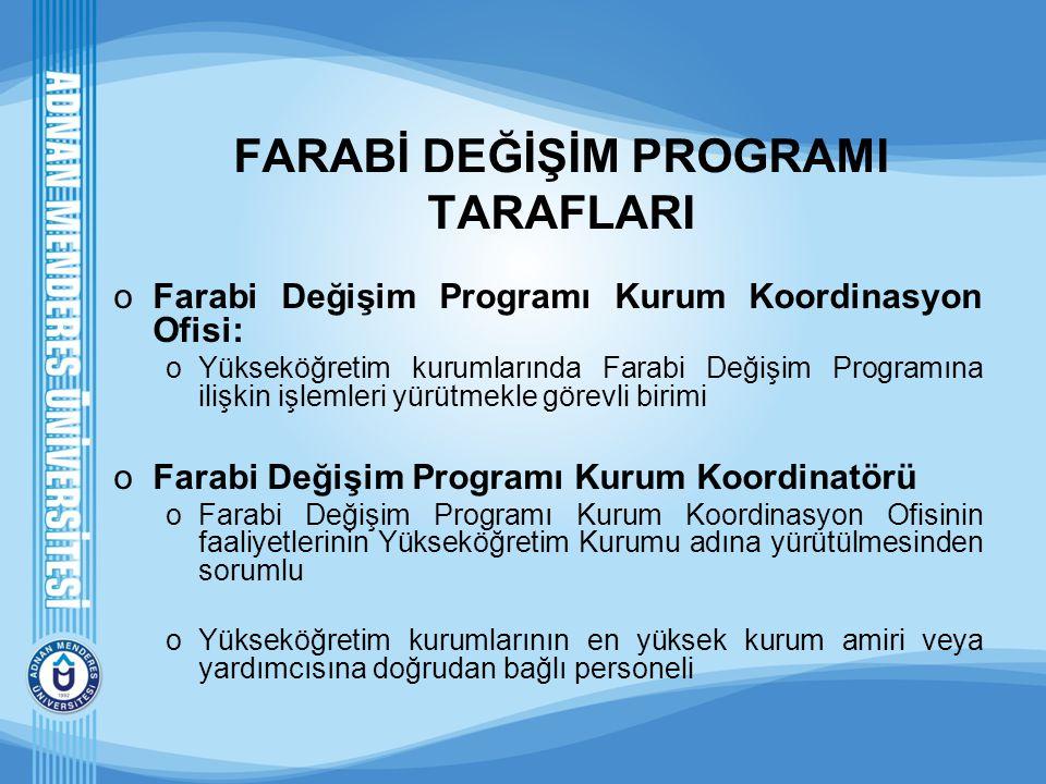 FARABİ DEĞİŞİM PROGRAMI TARAFLARI oFarabi Değişim Programı Kurum Koordinasyon Ofisi: oYükseköğretim kurumlarında Farabi Değişim Programına ilişkin işl