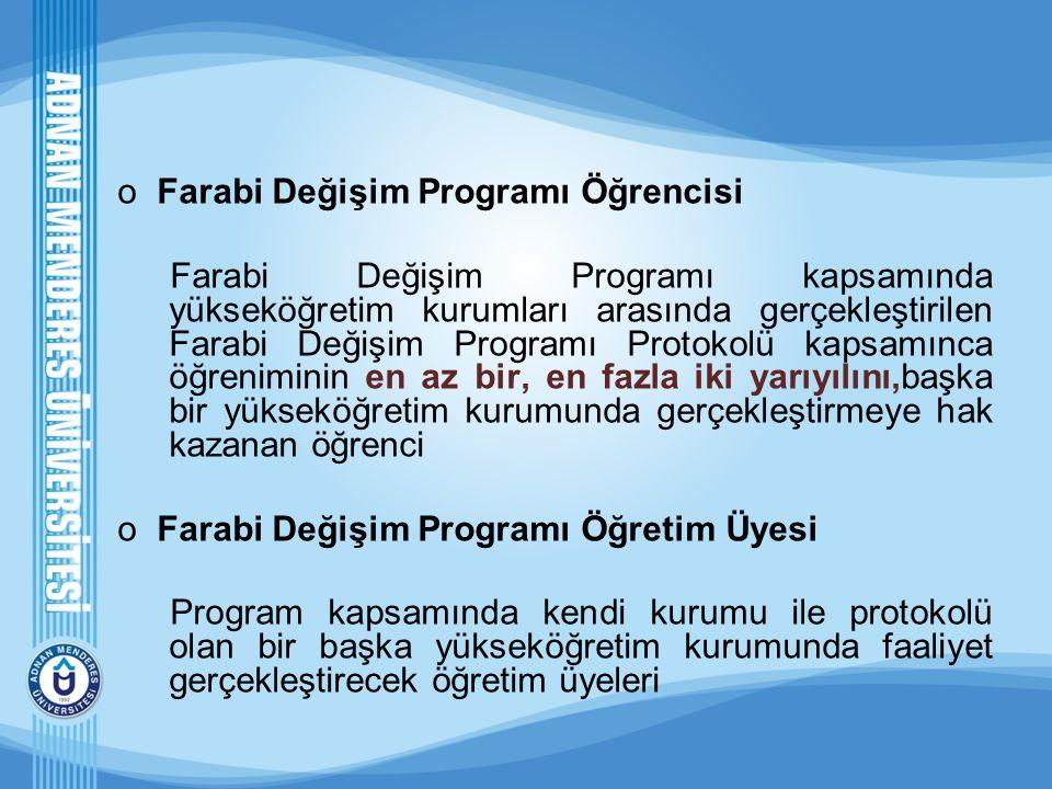 oFarabi Değişim Programı Öğrencisi Farabi Değişim Programı kapsamında yükseköğretim kurumları arasında gerçekleştirilen Farabi Değişim Programı Protok