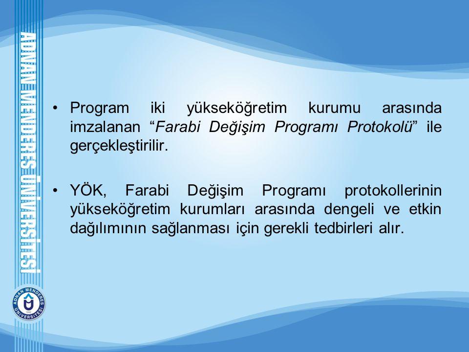 """Program iki yükseköğretim kurumu arasında imzalanan """"Farabi Değişim Programı Protokolü"""" ile gerçekleştirilir. YÖK, Farabi Değişim Programı protokoller"""