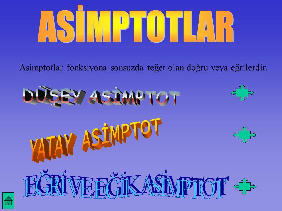 Asimptotlar fonksiyona sonsuzda teğet olan doğru veya eğrilerdir.