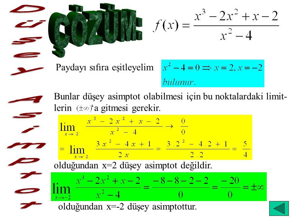 Paydayı sıfıra eşitleyelim Bunlar düşey asimptot olabilmesi için bu noktalardaki limit- lerin 'a gitmesi gerekir. olduğundan x=2 düşey asimptot değild