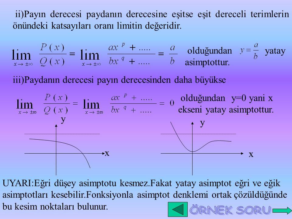 ii)Payın derecesi paydanın derecesine eşitse eşit dereceli terimlerin önündeki katsayıları oranı limitin değeridir. olduğundan yatay asimptottur. iii)