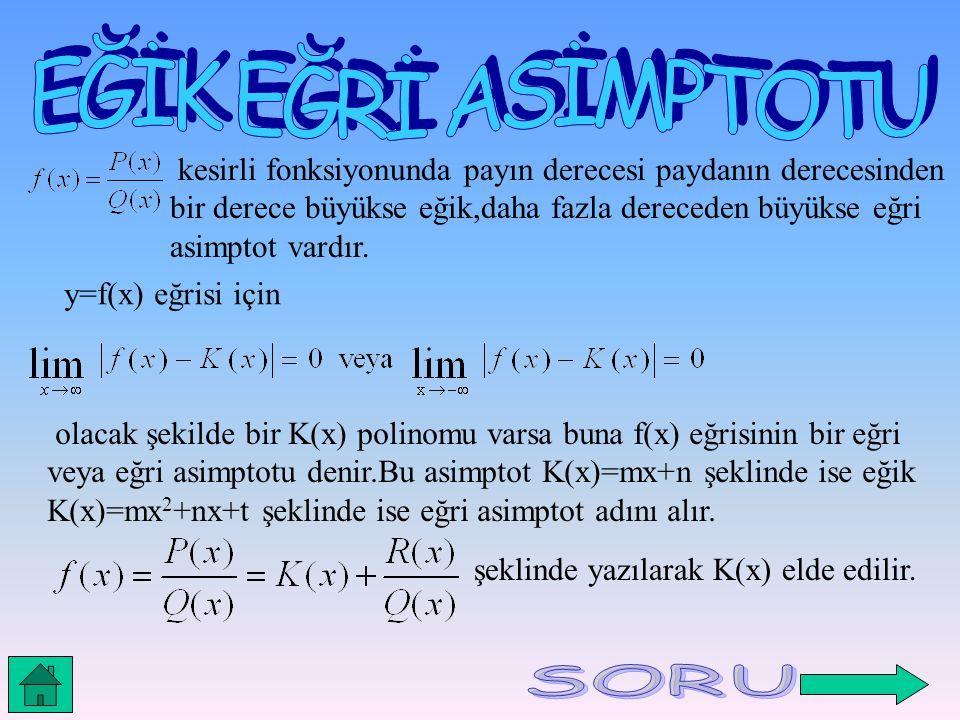 kesirli fonksiyonunda payın derecesi paydanın derecesinden bir derece büyükse eğik,daha fazla dereceden büyükse eğri asimptot vardır. y=f(x) eğrisi iç