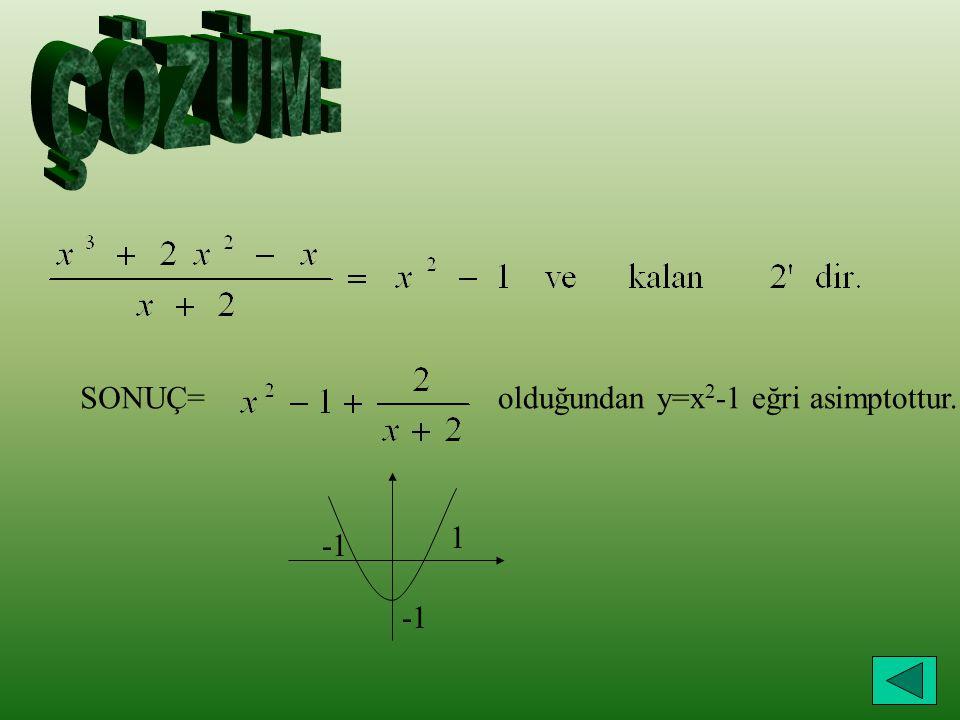 SONUÇ= olduğundan y=x 2 -1 eğri asimptottur. 1