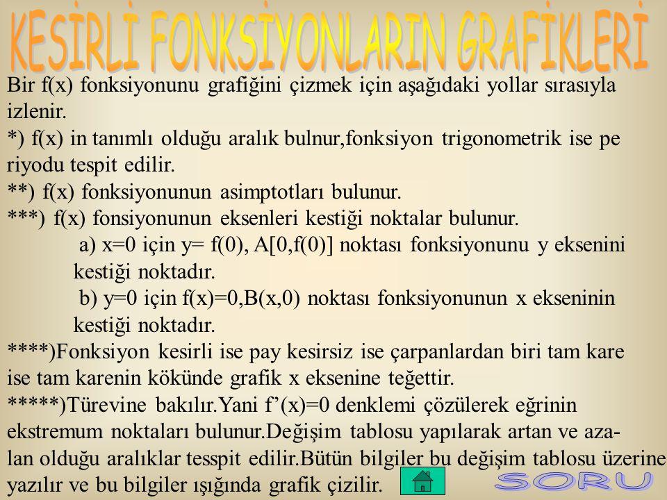 Bir f(x) fonksiyonunu grafiğini çizmek için aşağıdaki yollar sırasıyla izlenir. *) f(x) in tanımlı olduğu aralık bulnur,fonksiyon trigonometrik ise pe