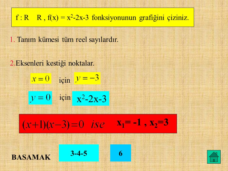 f : R R, f(x) = x 2 -2x-3 fonksiyonunun grafiğini çiziniz. 1. Tanım kümesi tüm reel sayılardır. 2.Eksenleri kestiği noktalar. için x 2 -2x-3 x 1 = -1,