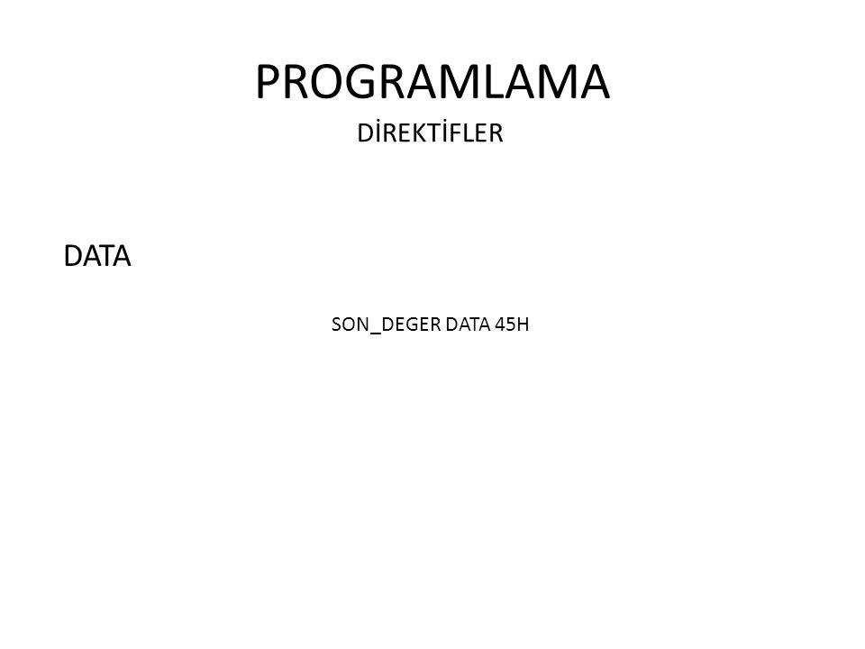 PROGRAMLAMA DİREKTİFLER DATA SON_DEGER DATA 45H