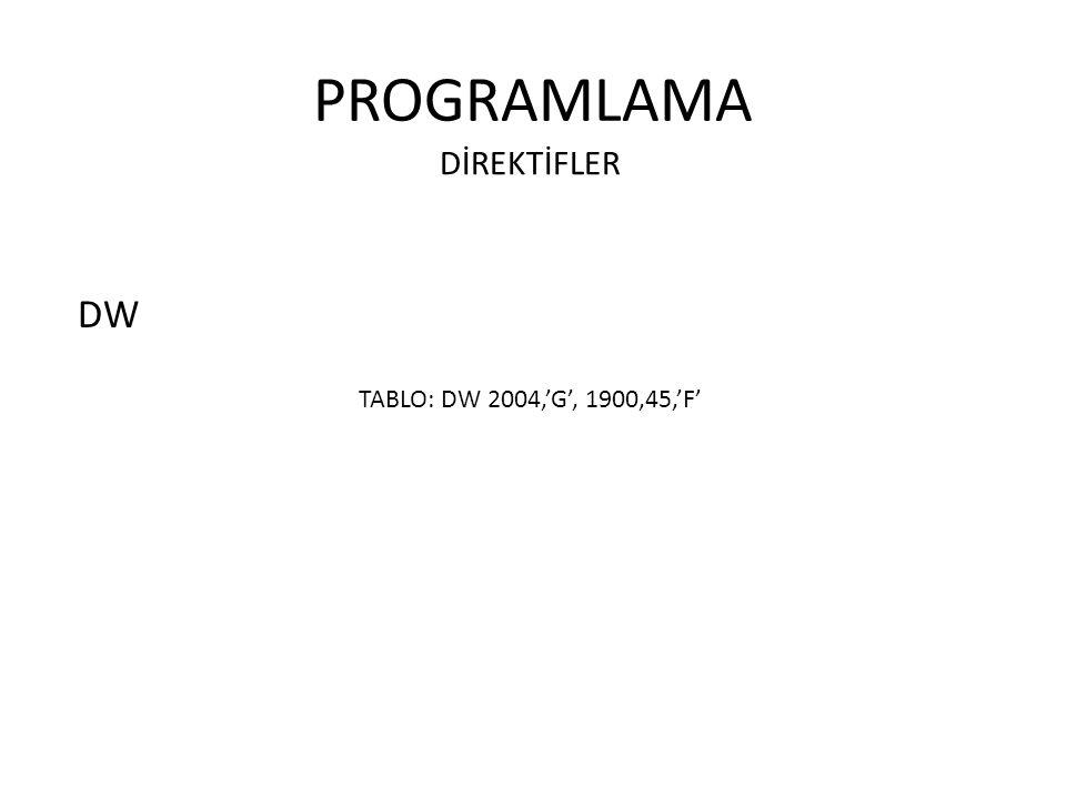 PROGRAMLAMA DİREKTİFLER DW TABLO: DW 2004,'G', 1900,45,'F'