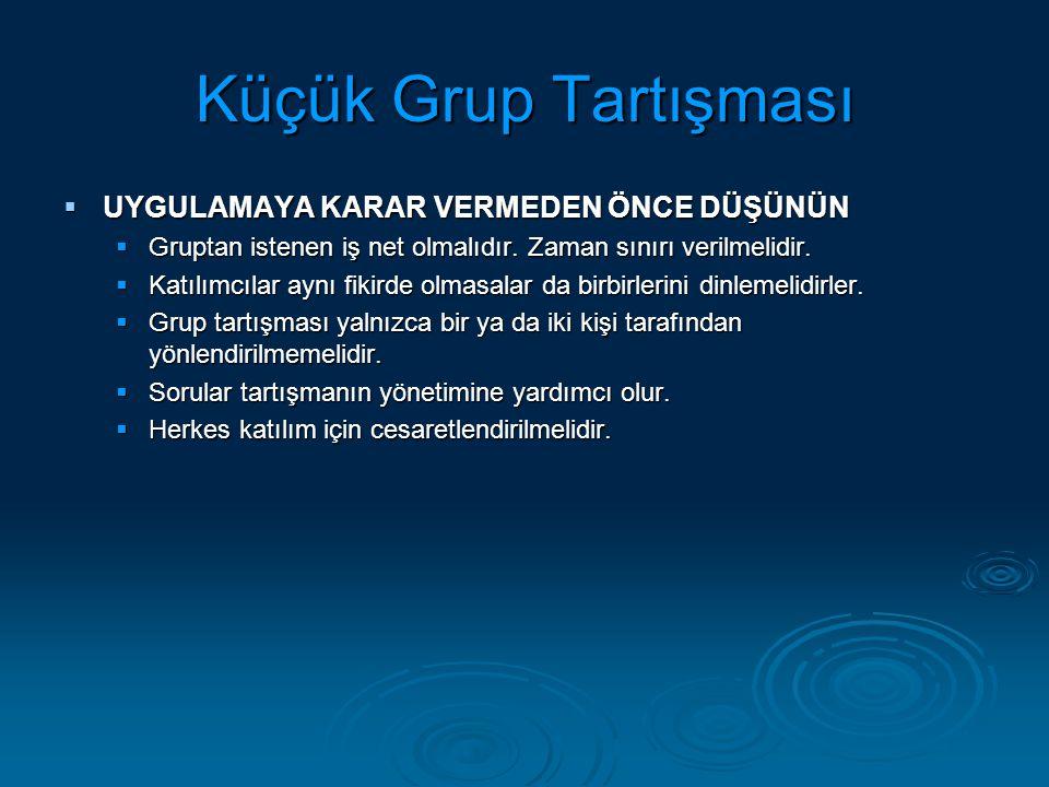 Küçük Grup Tartışması  UYGULAMAYA KARAR VERMEDEN ÖNCE DÜŞÜNÜN  Gruptan istenen iş net olmalıdır.
