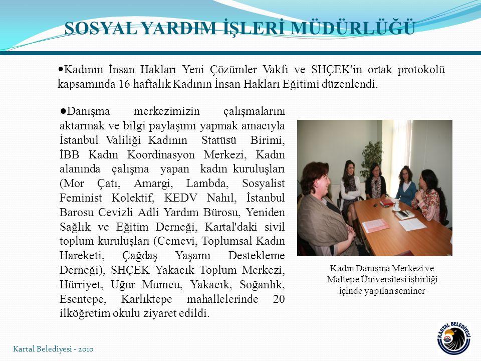 Kadının İnsan Hakları Yeni Çözümler Vakfı ve SHÇEK'in ortak protokolü kapsamında 16 haftalık Kadının İnsan Hakları Eğitimi düzenlendi. Kartal Belediye