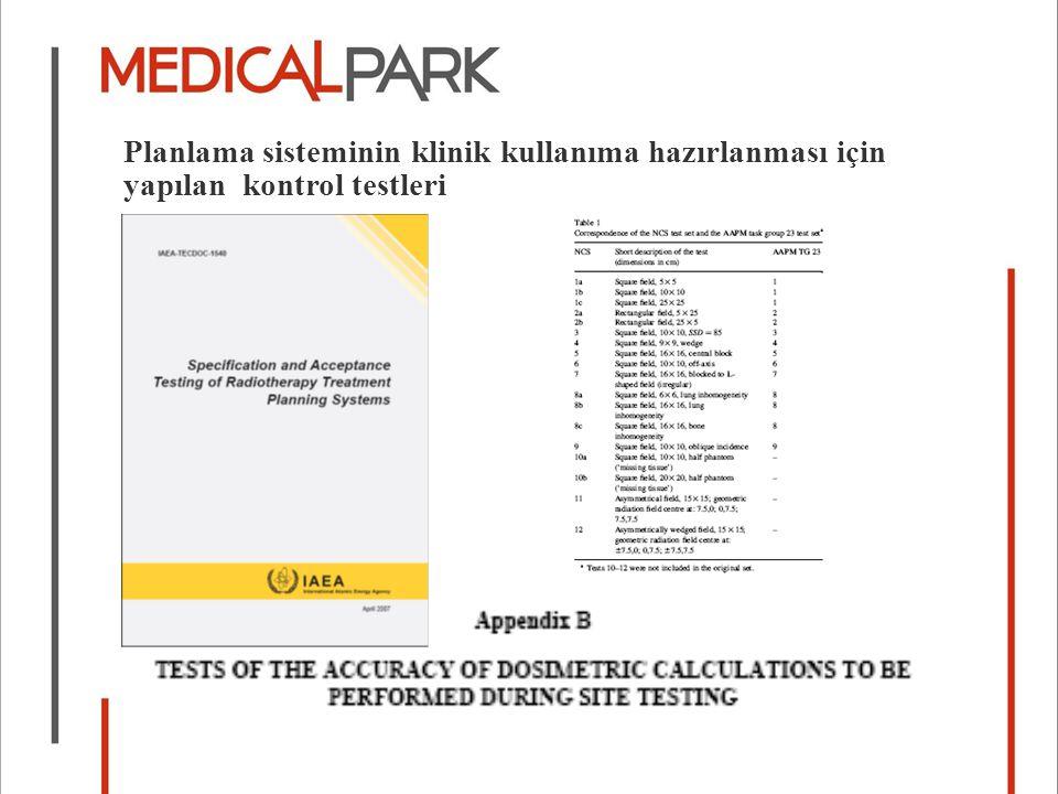 Planlama sisteminin klinik kullanıma hazırlanması için yapılan kontrol testleri