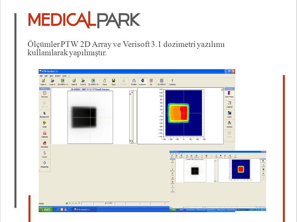 Ölçümler PTW 2D Array ve Verisoft 3.1 dozimetri yazılımı kullanılarak yapılmıştır.
