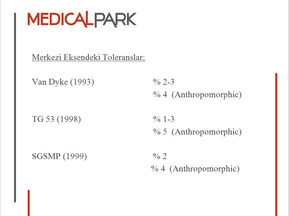 Merkezi Eksendeki Toleranslar; Van Dyke (1993) % 2-3 % 4 (Anthropomorphic) TG 53 (1998) % 1-3 % 5 (Anthropomorphic) SGSMP (1999) % 2 % 4 (Anthropomorphic)