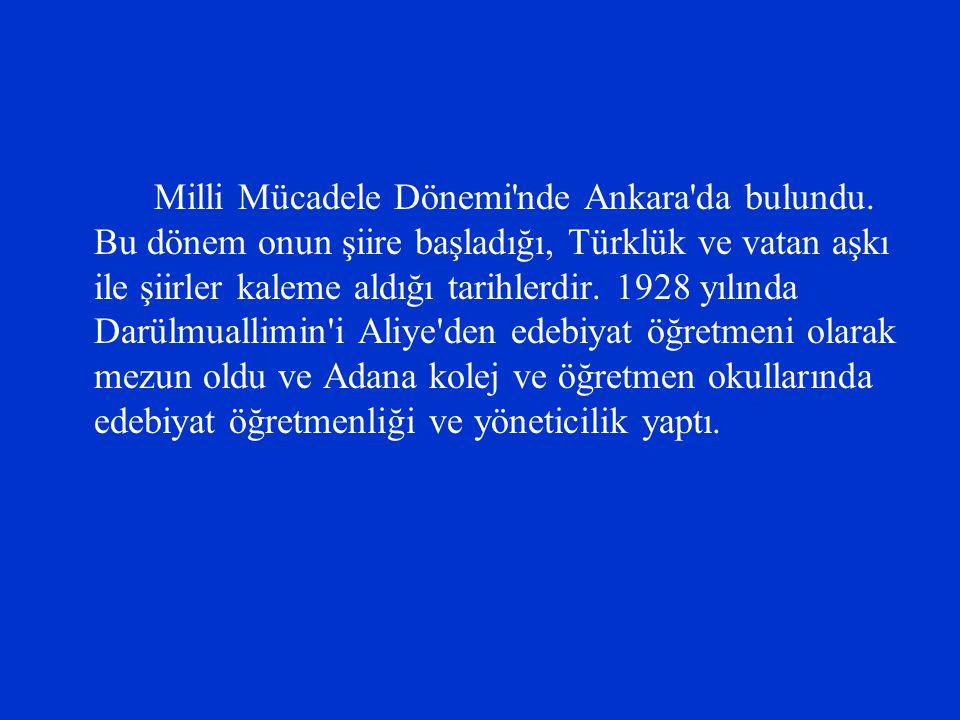 Milli Mücadele Dönemi'nde Ankara'da bulundu. Bu dönem onun şiire başladığı, Türklük ve vatan aşkı ile şiirler kaleme aldığı tarihlerdir. 1928 yılında