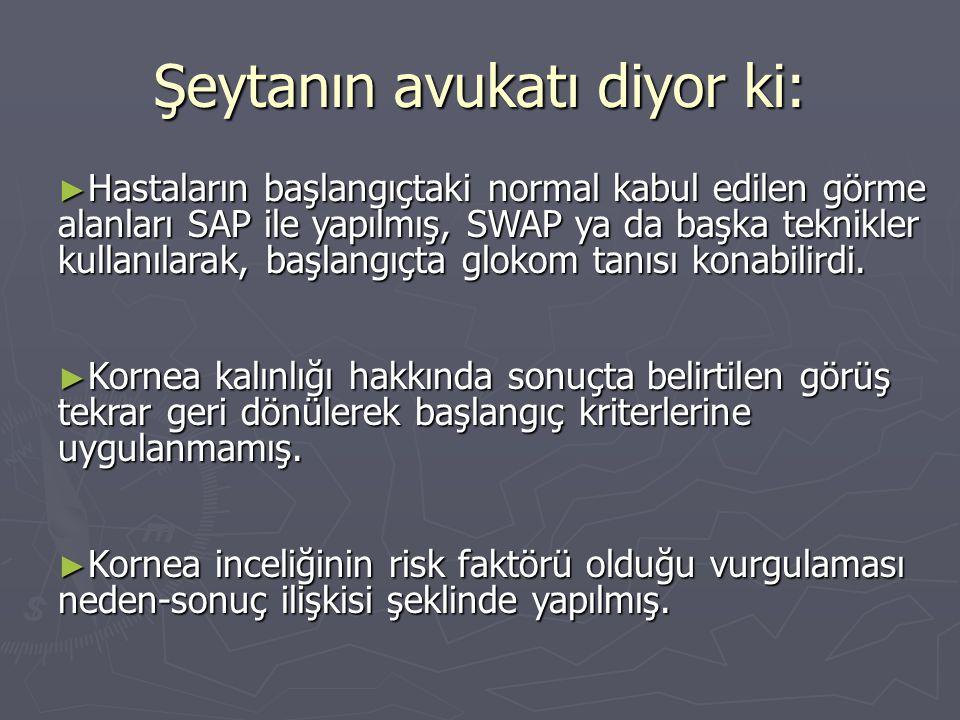 Şeytanın avukatı diyor ki: ► Hastaların başlangıçtaki normal kabul edilen görme alanları SAP ile yapılmış, SWAP ya da başka teknikler kullanılarak, ba