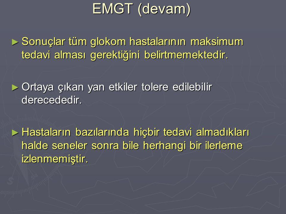 EMGT (devam) ► Sonuçlar tüm glokom hastalarının maksimum tedavi alması gerektiğini belirtmemektedir. ► Ortaya çıkan yan etkiler tolere edilebilir dere