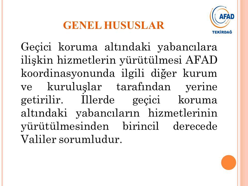 Geçici koruma altındaki yabancılara ilişkin hizmetlerin yürütülmesi AFAD koordinasyonunda ilgili diğer kurum ve kuruluşlar tarafından yerine getirilir.