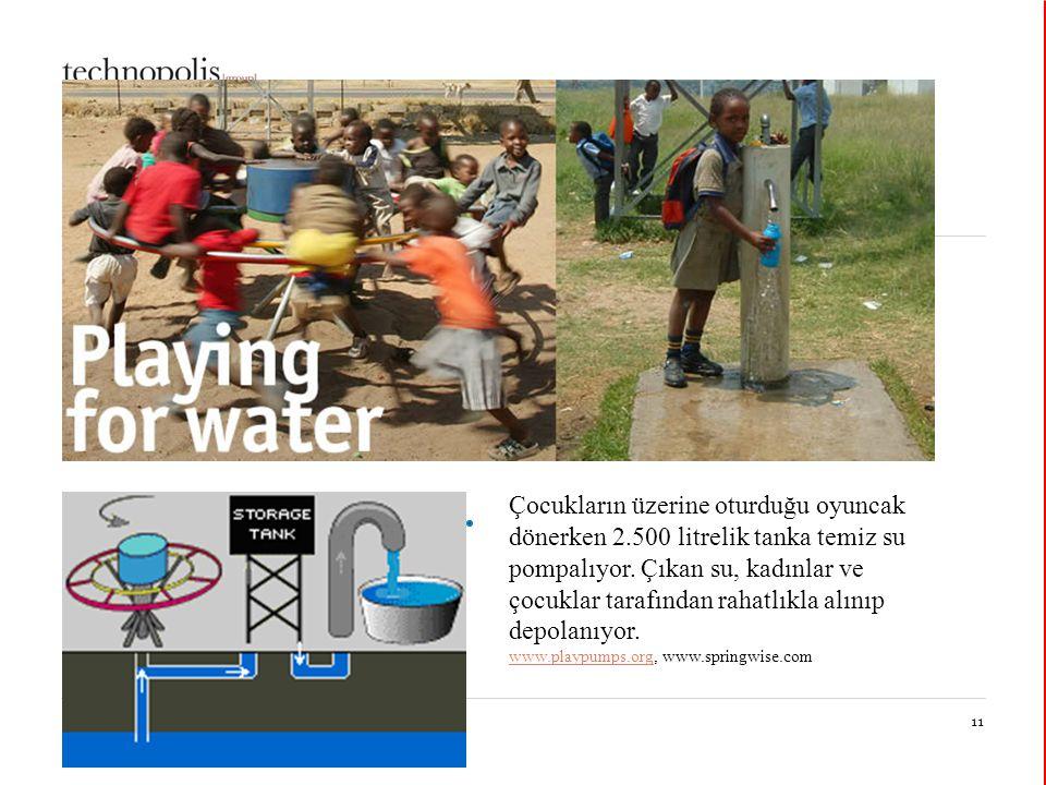 30 mars 201511 Toplumsal inovasyon Çocukların üzerine oturduğu oyuncak dönerken 2.500 litrelik tanka temiz su pompalıyor.