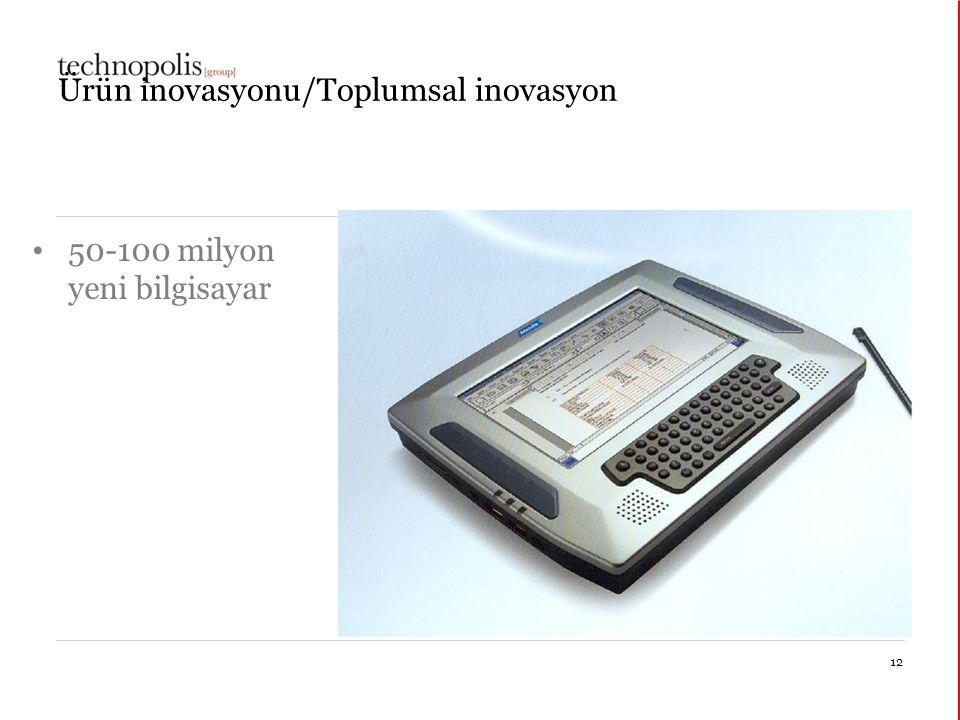 30 mars 2015 Ürün inovasyonu/Toplumsal inovasyon 50-100 milyon yeni bilgisayar 12