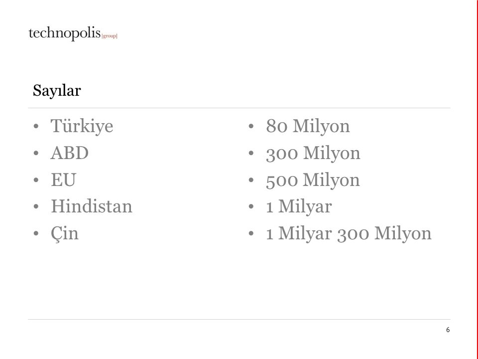 30 mars 2015 Sayılar Türkiye ABD EU Hindistan Çin 80 Milyon 300 Milyon 500 Milyon 1 Milyar 1 Milyar 300 Milyon 6