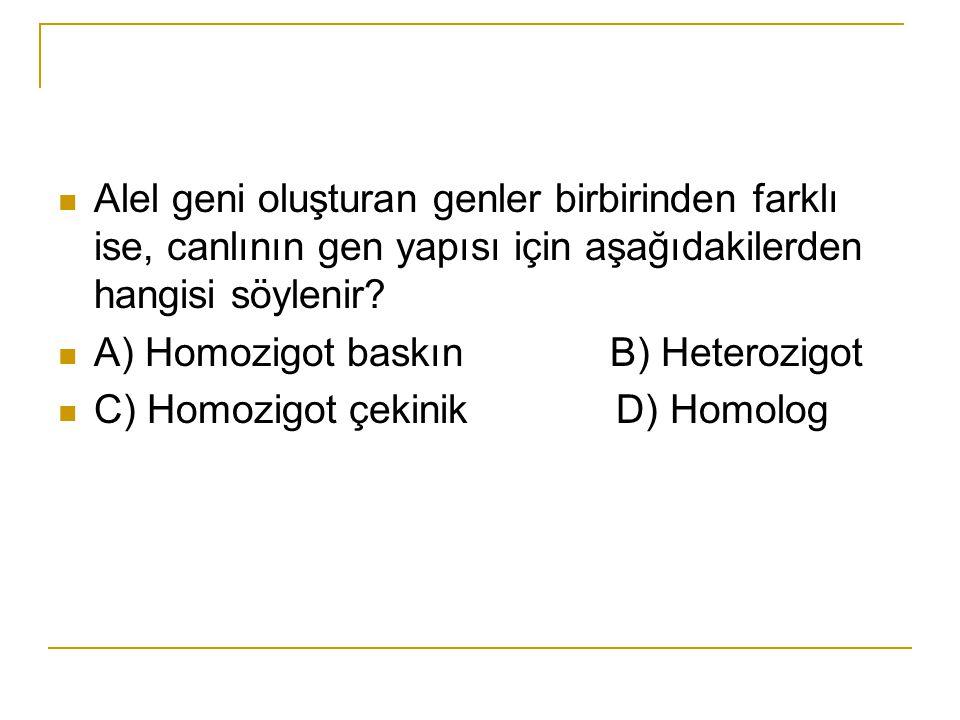 Alel geni oluşturan genler birbirinden farklı ise, canlının gen yapısı için aşağıdakilerden hangisi söylenir? A) Homozigot baskın B) Heterozigot C) Ho