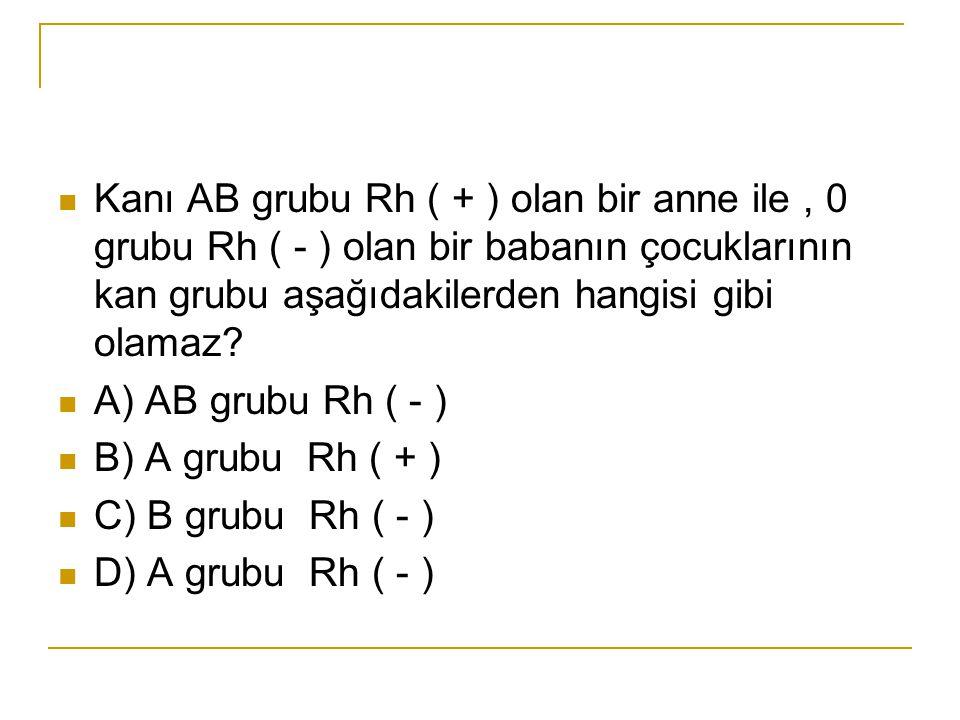Kanı AB grubu Rh ( + ) olan bir anne ile, 0 grubu Rh ( - ) olan bir babanın çocuklarının kan grubu aşağıdakilerden hangisi gibi olamaz? A) AB grubu Rh