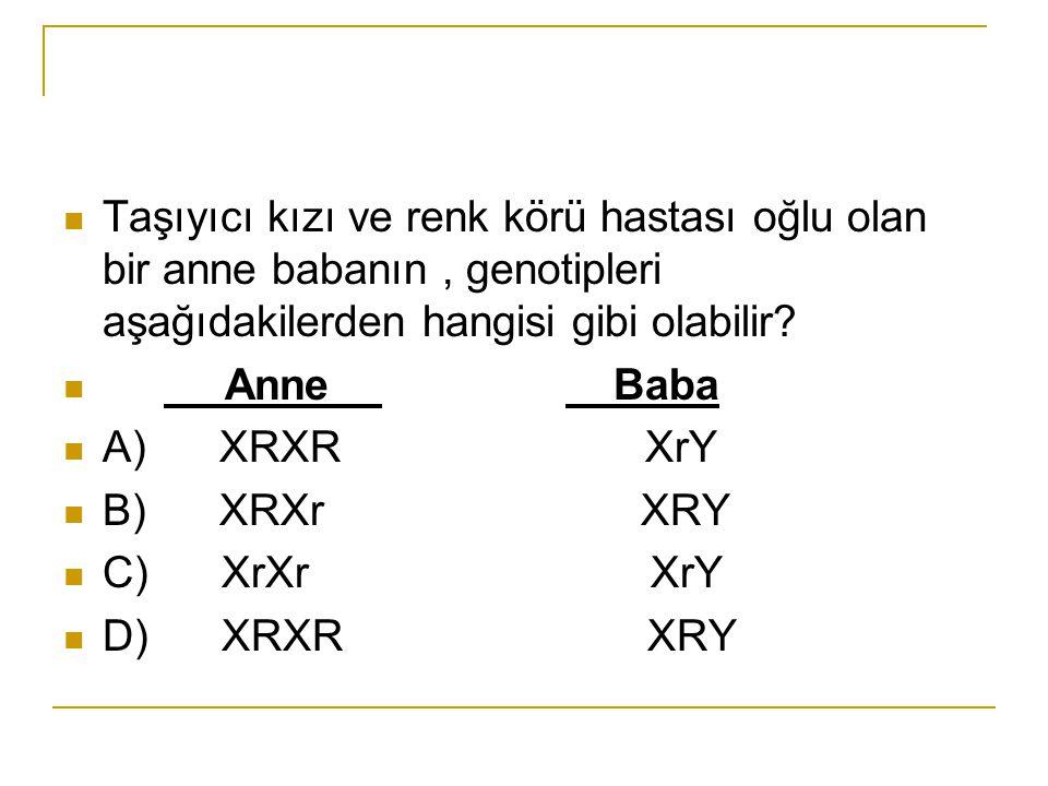 Taşıyıcı kızı ve renk körü hastası oğlu olan bir anne babanın, genotipleri aşağıdakilerden hangisi gibi olabilir? Anne Baba A) XRXR XrY B) XRXr XRY C)