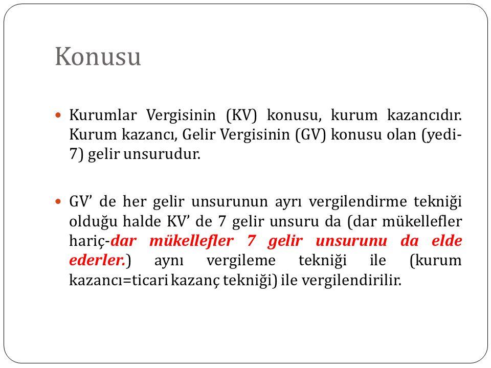 Konusu Kurumlar Vergisinin (KV) konusu, kurum kazancıdır. Kurum kazancı, Gelir Vergisinin (GV) konusu olan (yedi- 7) gelir unsurudur. GV' de her gelir