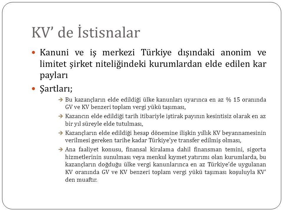 KV' de İstisnalar Kanuni ve iş merkezi Türkiye dışındaki anonim ve limitet şirket niteliğindeki kurumlardan elde edilen kar payları Şartları;  Bu kaz