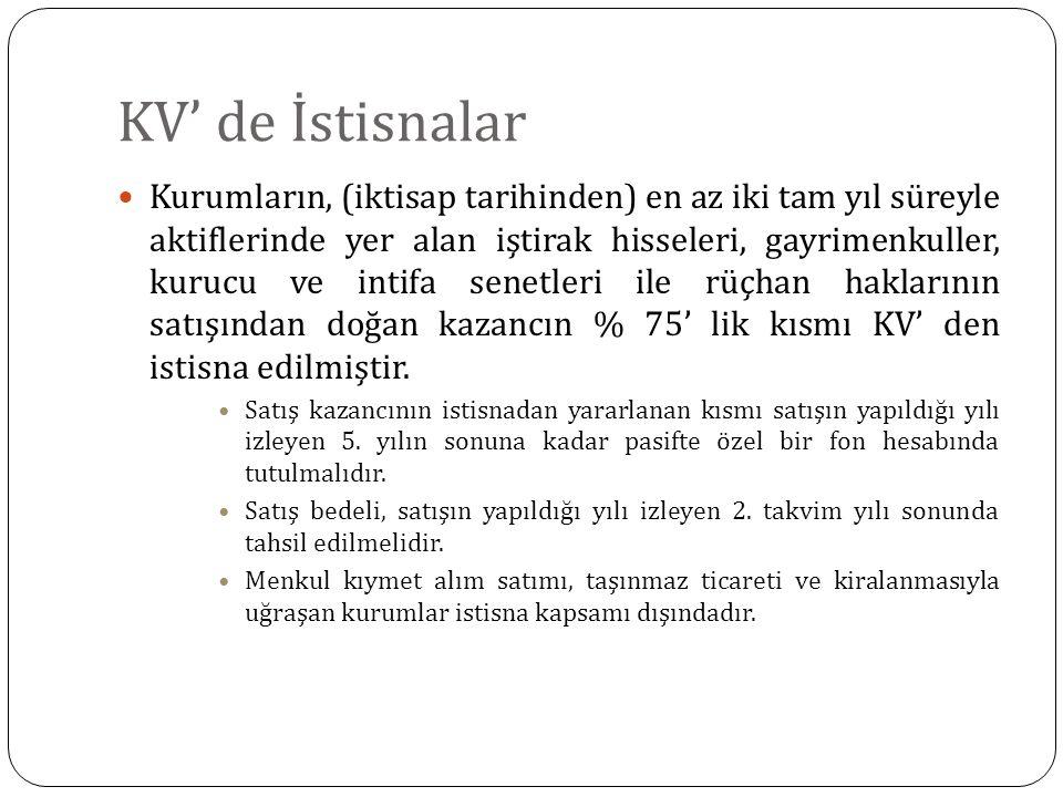 KV' de İstisnalar Kurumların, (iktisap tarihinden) en az iki tam yıl süreyle aktiflerinde yer alan iştirak hisseleri, gayrimenkuller, kurucu ve intifa